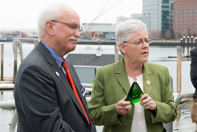 Office of the Administrator - Boston - Administrator Gina McCarthy in Boston throwing a pitch at Fenway Park and presenting an award to President and CEO of the New England Aquarium, Bud Ris [412-APD-1216-2014-04-22_Boston_037.jpg]