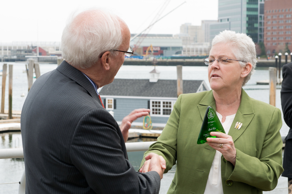Office of the Administrator - Boston - Administrator Gina McCarthy in Boston throwing a pitch at Fenway Park and presenting an award to President and CEO of the New England Aquarium, Bud Ris [412-APD-1216-2014-04-22_BostonDayinLife_011.jpg]