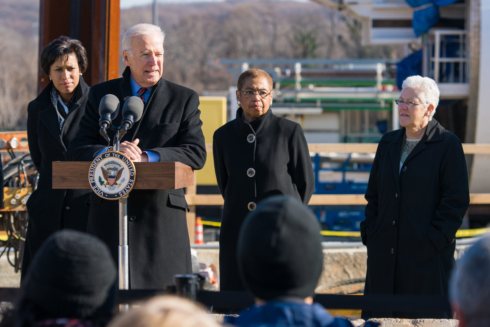 Office of the Administrator - Build America - Administrator Gina McCarthy, Vice President Joe Biden, and D.C. Mayor Muriel Bowser visiting a DC Clean Rivers Project, and DC Congresswoman Eleanor Holmes Norton [412-APD-1276-2015-01-16_BuildAmerica_021.jpg]