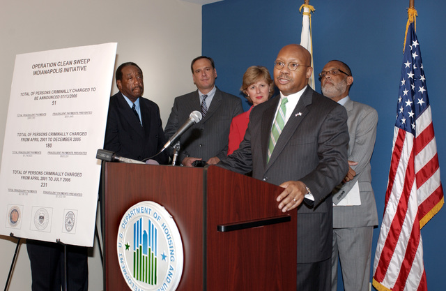 Visit of Secretary Alphonso Jackson to Indianapolis, Indiana, for discussions [with Indiana Governor Mitch Daniels, other state officials, HUD Office of Inspector General staff, and prosecutors  concerning] completion of landlord, tenant fraud cases in the state  [Operation Clean Sweep]
