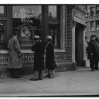 Photographs of Police Standing Guard at the Entrance to the World Exchange Bank in New York City after it Closed Due to a Run on It