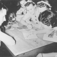 Photograph of Instructor George Schraut Conducting a Class in Tree Identification at Lost Lake Organization Camp
