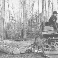 Photograph of Leonard Hess Skidding Three Sugar Maple Logs While Forest Ranger H. O. Nixon and an Albert Sheldon Company Scaler Measure Their Contents