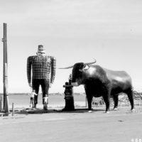 Photograph of Big Wooden Statue of Paul Bunyan and His Blue Ox at Bemidji, Minnesota