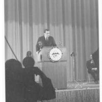 Richard Nixon gives his last speech as Vice President at the Ford Auditorium in Detroit, Michigan