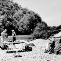 Photograph of Float Trip Campers on a Gravel Bar on the Current River