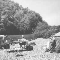 Photograph of Campers on a Gravel Bar on a Float Trip Down the Current River