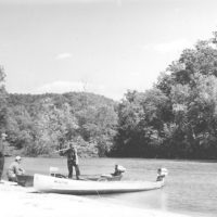 Photograph of Fisherman on a Gravel Bar Along the Current River