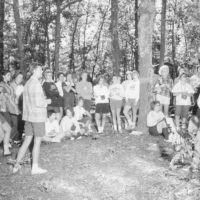 Photograph of a Group Discussion of Planned Work by Senior Girl Scouts at Camp Tocanja