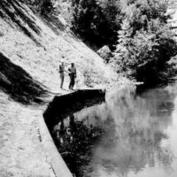 Photograph of Ranger Sandy Silver and Foreman Harold Coffel Checking on Wing Constructed to Deflect River Current