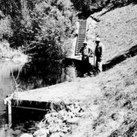 Photograph of Ranger Sanford Silver and Foreman Harold Coffel Checking on Success of Streamside Stabilization Work