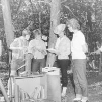 Photograph of Senior Girl Scouts Planning Projects in Wildlife Habitat Improvement Work at Camp Tocanja