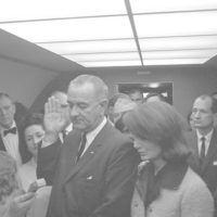 Photograph of the Swearing in of Lyndon B. Johnson as President