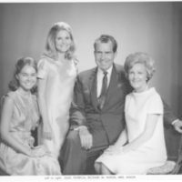 Portrait of Richard Nixon and his family (Pat Nixon, Julie Nixon, Tricia Nixon)