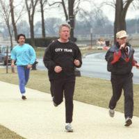 Photograph of President William J. Clinton Jogging