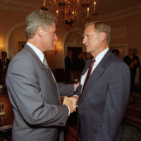 Photograph of President William J. Clinton Shaking Hands with Missouri Governor Mel Carnahan