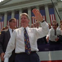 Photograph of President William J. Clinton Greeting Citizens of Charleston, West Virginia