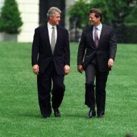 Photograph of President William J. Clinton and Vice President Al Gore Walking to the South Lawn Together for a Budget Bill Signing