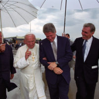 Photograph of President William J. Clinton Talking with Pope John Paul II on the Tarmac at Stapleton International Airport in Denver, Colorado