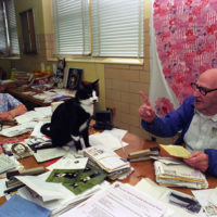Photograph of Socks the Cat Visiting the U.S. Soldiers and Airmen's Home