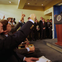Photograph of President William J. Clinton Participating in a Press Conference Regarding Somalia