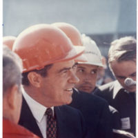 Richard Nixon wears a construction hard hat in Seattle