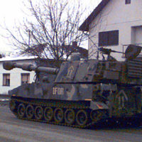 An M-109 Self Propelled Howitzer from the 2nd Battalion, 3rd Field Artillery, 1ST ArmorDivision, rolls on the streets of Zupanja, Bosnia-Herzegovina. The M-109 Howitzer crossed the pontoon bridge that links Croatia and Bosnia-Herzegovina
