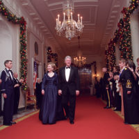 Photograph of President William Jefferson Clinton and First Lady Hillary Rodham Clinton Attending the Kennedy Center Honors Gala Reception at the White House in Washington, D.C.
