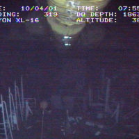 Underwater shot taken by the Remotely Operated Vehicle (ROV) TXL-16, during the recovery of the Japanese fishing vessel Ehime Maru