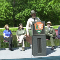 Anne Arundel County, Maryland Department of Recreation and Parks Superintendent David Dionne speaking at event at Chesapeake and Ohio Canal National Historical Park in the Washington, D.C. area, marking the designation of 26 new national recreation trails, including Baltimore and Annapolis Trail