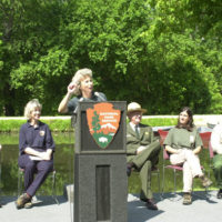 National Park Service Director Fran Mainella speaking at National Trails Day-related event at the Chesapeake and Ohio Canal National Historical Park in the Washington, D.C. area, marking the designation of 26 new national recreation trails in 16 states