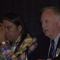 Three Affiliated Tribes Chairman Tex Hall, left, and Associate Deputy Secretary of Interior James Cason among officials leading the Bismarck, North Dakota meeting of the Tribal Leaders-Department of Interior Task Force on Trust Reform, concerning plans for improving Department management of American Indiantrust assets