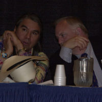 Three Affiliated Tribes Chairman Tex Hall, left, conferring with Associate Deputy Secretary of Interior James Cason, during the Bismarck, North Dakota meeting of the Tribal Leaders-Department of Interior Task Force on Trust Reform, concerning plans for improving Department management of American Indian trust assets