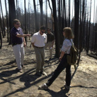 Preparations for appearance by President George Bush at the Jackson County Fairgrounds, Central Point, Oregon, for address on the Healthy Forests Initiative and environmental policy, following Presidential visit to the site of the Squire Peak forest fire