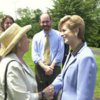 Environmental Protection Agency head Christine Todd Whitman, right, with Ethel Kennedy, Earth Conservation Corps supporter and widow of Robert Kennedy, at Washington, D.C. groundbreaking event for Anacostia Riverwalk Trail, a D.C.-National Park Service-environmental group partnership project