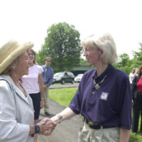 Secretary Gale Norton, right, with Ethel Kennedy, Earth Conservation Corps supporter and widow of Robert Kennedy, at the Washington, D.C. groundbreaking event for the Anacostia Riverwalk Trail, a public-private partnership project involving D.C. government, National Park Service, environmental groups