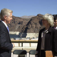 California Governor Gray Davis, Secretary Gale Norton, and Assistant Secretary for Water and Science, Bennett Raley at Hoover Dam, Boulder City, Nevada events marking historic Colorado River Water Delivery Agreement, providing for reduction in California reliance on Colorado River water