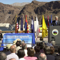 California Governor Gray Davis speaking at Hoover Dam, Boulder City, Nevada events marking historic Colorado River Water Delivery Agreement, providing for reduction in California reliance on Colorado River water and protection of water shares for six other Colorado River Basin states