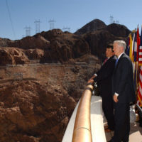 California Governor Gray Davis with Assistant Secretary for Water and Science, Bennett Raley, at Hoover Dam, Boulder City, Nevada signing event for Colorado River Water Delivery Agreement, providing for reduction in California reliance on Colorado River water