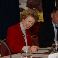 National Park Service Director Fran Mainella providing her signature at Washington, D.C. signing event for National Park Service-National Park Foundation-Travel Industry Association of America agreement promoting See America's National Parks campaign