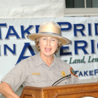 National Park Service Director Fran Mainella speaking at Chesapeake and Ohio Canal National Historical Park, Maryland, where she participated in tours, promotion of National Public Lands Day and Take Pride in America projects, and announcement of fee-free day at public lands for September 18, 2004