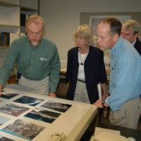 Visit of Secretary Gale Norton, center, and Oregon Congressman Greg Walden, to Norton's right, to the U.S. Geological Survey's Cascades Volcano Observatory in Vancouver, Washington, where they received a tour and briefing from Survey scientists, including volcanologist John Pallister, far left, on the status of Mount St. Helens