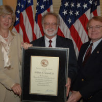 William Carswell, U.S. Geological Survey, receiving senior executive service award, Department of Interior headquarters, Washington, D.C.