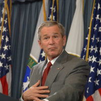 President George Bush giving press conference, at Department of Energy, Washington, D.C., concerning the impact of Hurricanes Katrina and Rita on oil, natural gas production, refining, distribution in Gulf of Mexico region