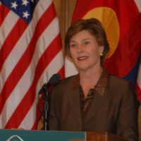 First Lady Laura Bush speaking at National Park Foundation event at the Phipps Mansion in Denver, Colorado, honoring Junior Ranger Program providing hands-on exploration and discovery opportunities for youth in National Parks across the country