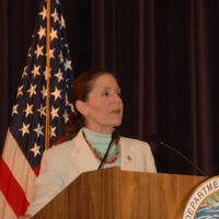 Deputy Secretary P. Lynn Scarlett speaking at awards event, at Department of Interior headquarters, honoring Interior staff contributions to response and recovery efforts after 2005 Gulf Coast hurricanes