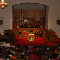 U.S. Attorney General Alberto Gonzales speaking at ceremonies designating the Sixteenth Street Baptist Church, Birmingham, Alabama, key civil rights movement meeting place and site of 1963 bombing, as a National Historic Landmark