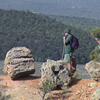 Scenic Byway 12 - Hiker at an Overlook in Red Canyon